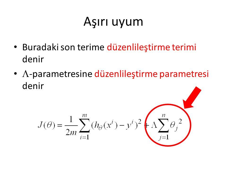 Aşırı uyum • Buradaki son terime düzenlileştirme terimi denir •  -parametresine düzenlileştirme parametresi denir