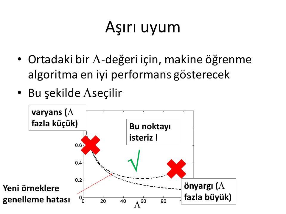 Aşırı uyum • Ortadaki bir  -değeri için, makine öğrenme algoritma en iyi performans gösterecek • Bu şekilde  seçilir Yeni örneklere genelleme hatası