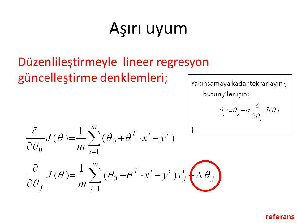 Aşırı uyum Düzenlileştirmeyle lineer regresyon güncelleştirme denklemleri; Yakınsamaya kadar tekrarlayın { bütün j'ler için; } referans
