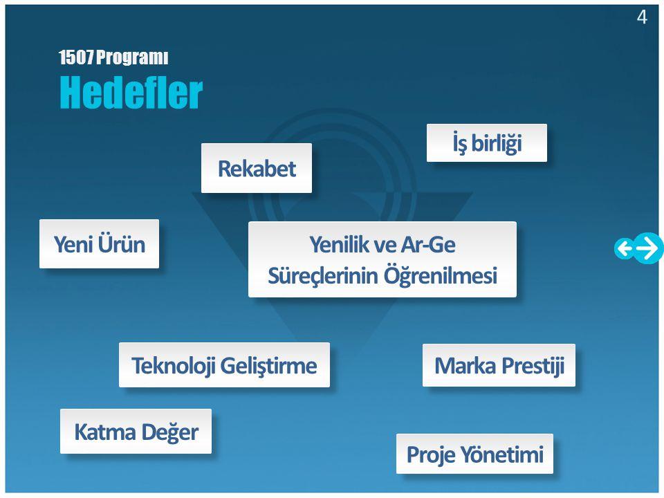 Rekabet Yeni Ürün Yenilik ve Ar-Ge Süreçlerinin Öğrenilmesi Proje Yönetimi Marka Prestiji Katma DeğerTeknoloji Geliştirme İş birliği 1507 Programı Hed