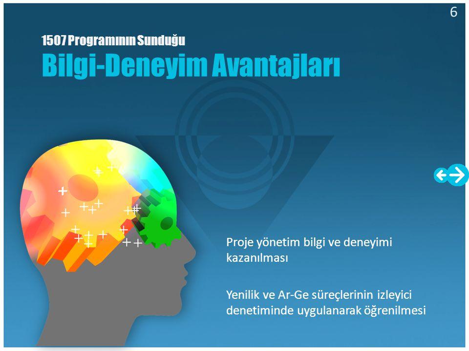 1507 Programında Üniversite-Sanayi İşbirliği Avantajı Bu programda KOBİlerin proje kapsamında üniversitelerden ve Ar-Ge kuruluşlarından hizmet alımı desteklenmektedir.