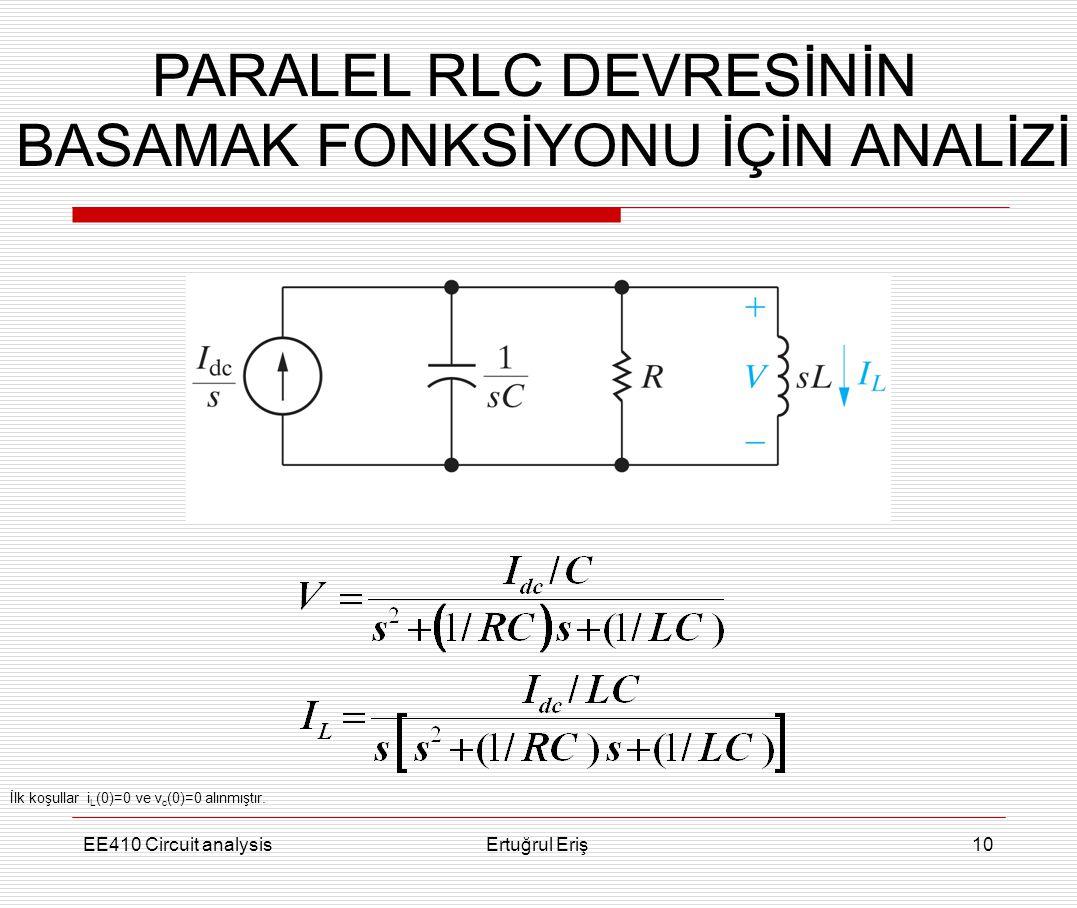EE410 Circuit analysisErtuğrul Eriş10 PARALEL RLC DEVRESİNİN BASAMAK FONKSİYONU İÇİN ANALİZİ İlk koşullar i L (0)=0 ve v c (0)=0 alınmıştır.