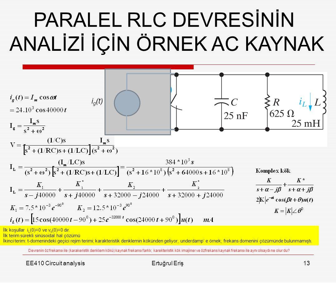 EE410 Circuit analysisErtuğrul Eriş13 PARALEL RLC DEVRESİNİN ANALİZİ İÇİN ÖRNEK AC KAYNAK i g (t) İlk koşullar i L (0)=0 ve v c (0)=0 dır. İlk terim s