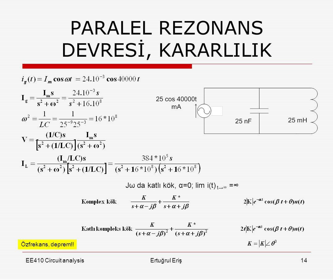 PARALEL REZONANS DEVRESİ, KARARLILIK EE410 Circuit analysisErtuğrul Eriş14 Özfrekans, deprem!! Jω da katlı kök, α=0; lim i(t) t→∞ =∞