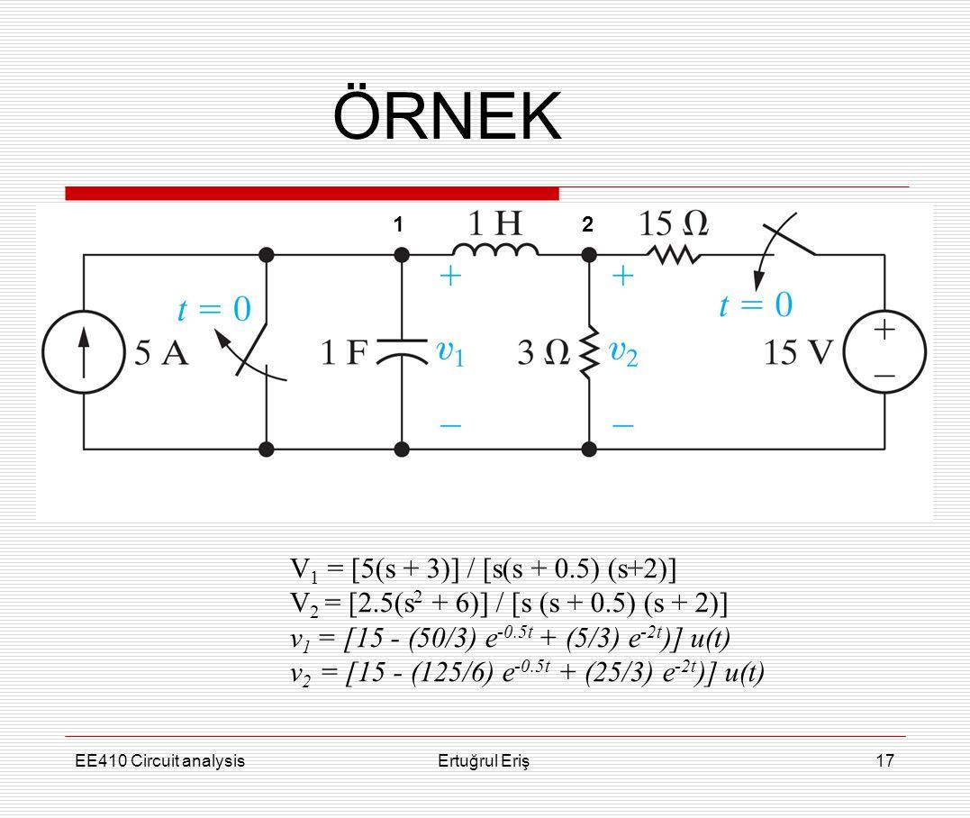 EE410 Circuit analysisErtuğrul Eriş17 ÖRNEK V 1 = [5(s + 3)] / [s(s + 0.5) (s+2)] V 2 = [2.5(s 2 + 6)] / [s (s + 0.5) (s + 2)] v 1 = [15 - (50/3) e -0