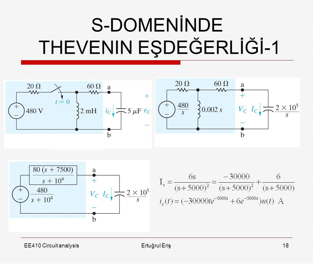 EE410 Circuit analysisErtuğrul Eriş18 S-DOMENİNDE THEVENIN EŞDEĞERLİĞİ-1