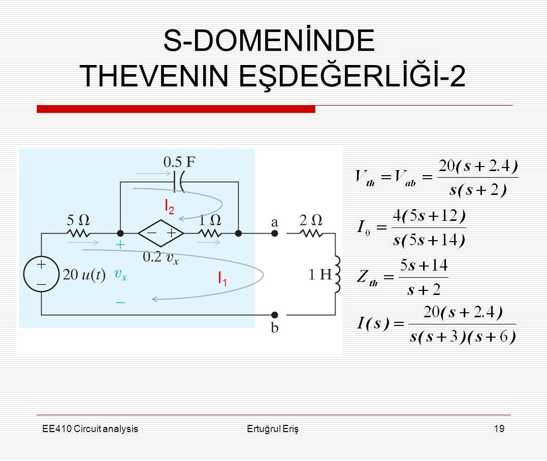 EE410 Circuit analysisErtuğrul Eriş19 S-DOMENİNDE THEVENIN EŞDEĞERLİĞİ-2 I1I1 I2I2
