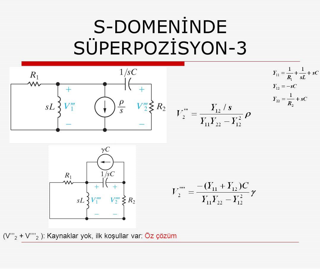 S-DOMENİNDE SÜPERPOZİSYON-3 (V''' 2 + V'''' 2 ): Kaynaklar yok, ilk koşullar var: Öz çözüm