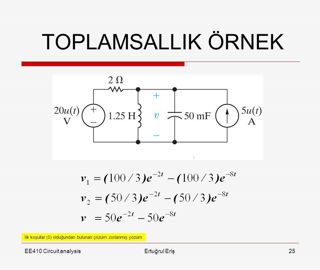 EE410 Circuit analysisErtuğrul Eriş25 TOPLAMSALLIK ÖRNEK İlk koşullar (0) olduğundan bulunan çözüm: zorlanmış çözüm