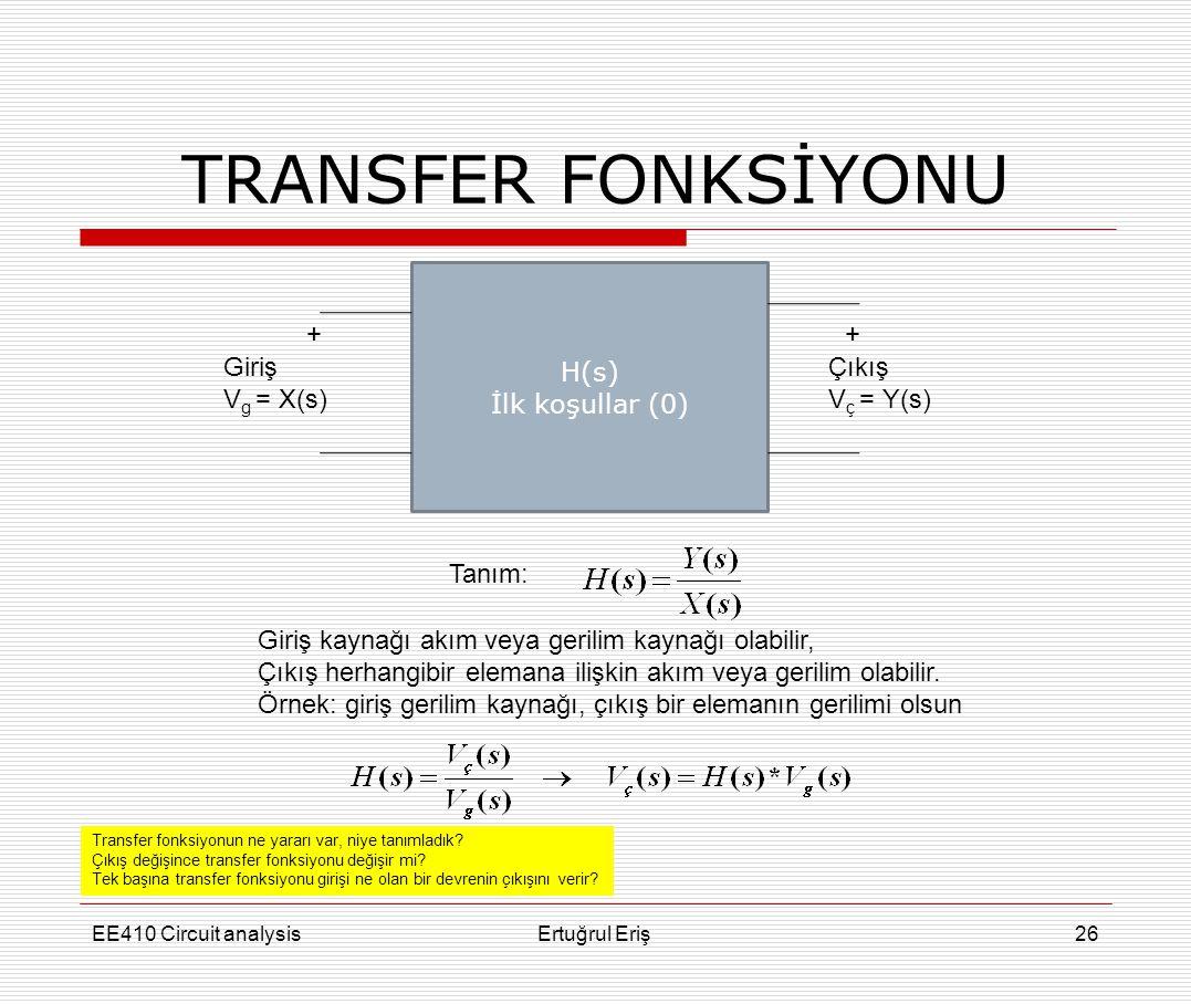 TRANSFER FONKSİYONU EE410 Circuit analysisErtuğrul Eriş26 H(s) İlk koşullar (0) Giriş V g = X(s) + Çıkış V ç = Y(s) + Tanım: Giriş kaynağı akım veya g