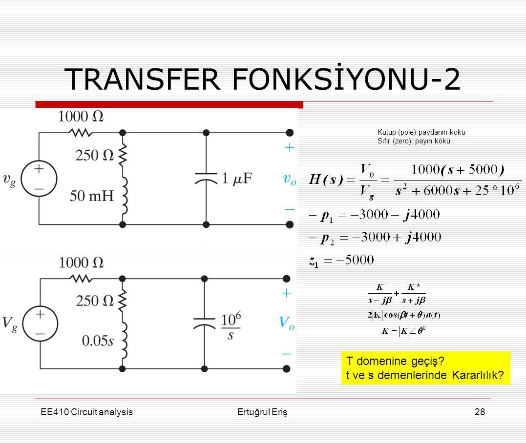 EE410 Circuit analysisErtuğrul Eriş28 TRANSFER FONKSİYONU-2 Kutup (pole) paydanın kökü Sıfır (zero): payın kökü T domenine geçiş? t ve s demenlerinde