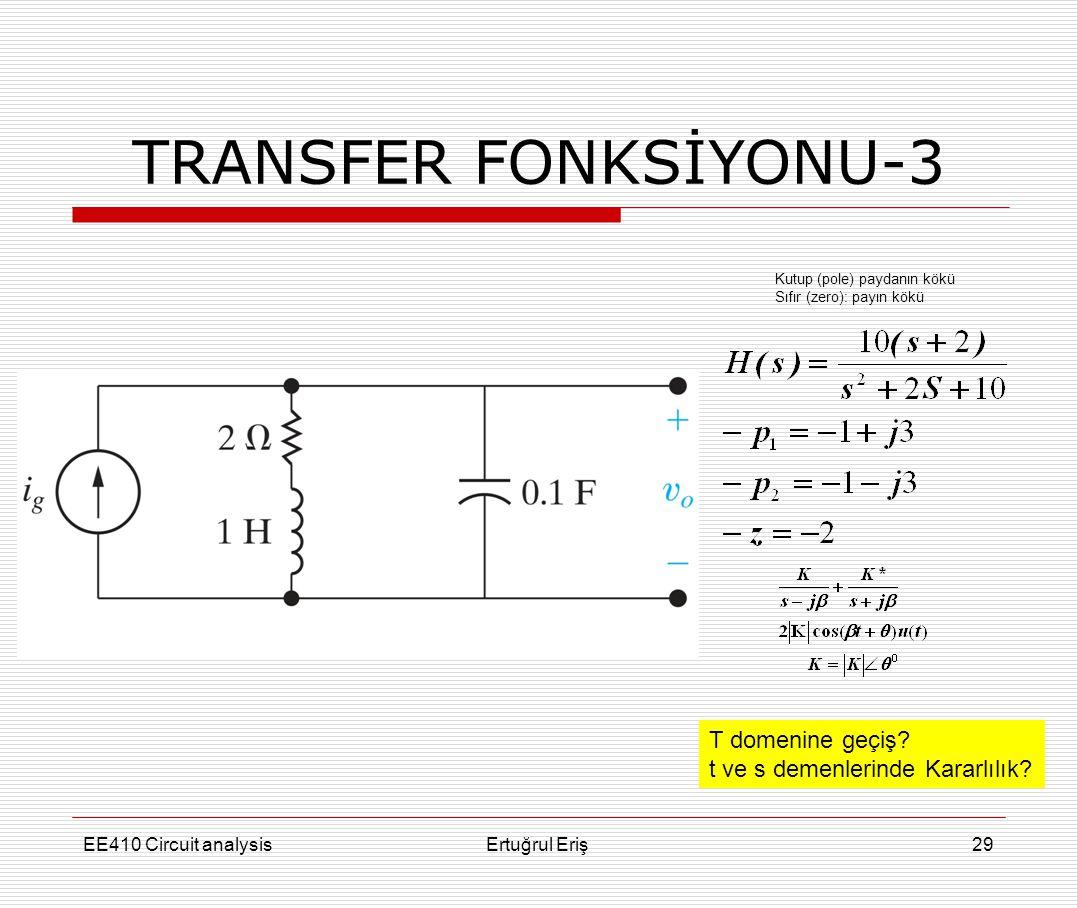 EE410 Circuit analysisErtuğrul Eriş29 TRANSFER FONKSİYONU-3 Kutup (pole) paydanın kökü Sıfır (zero): payın kökü T domenine geçiş? t ve s demenlerinde