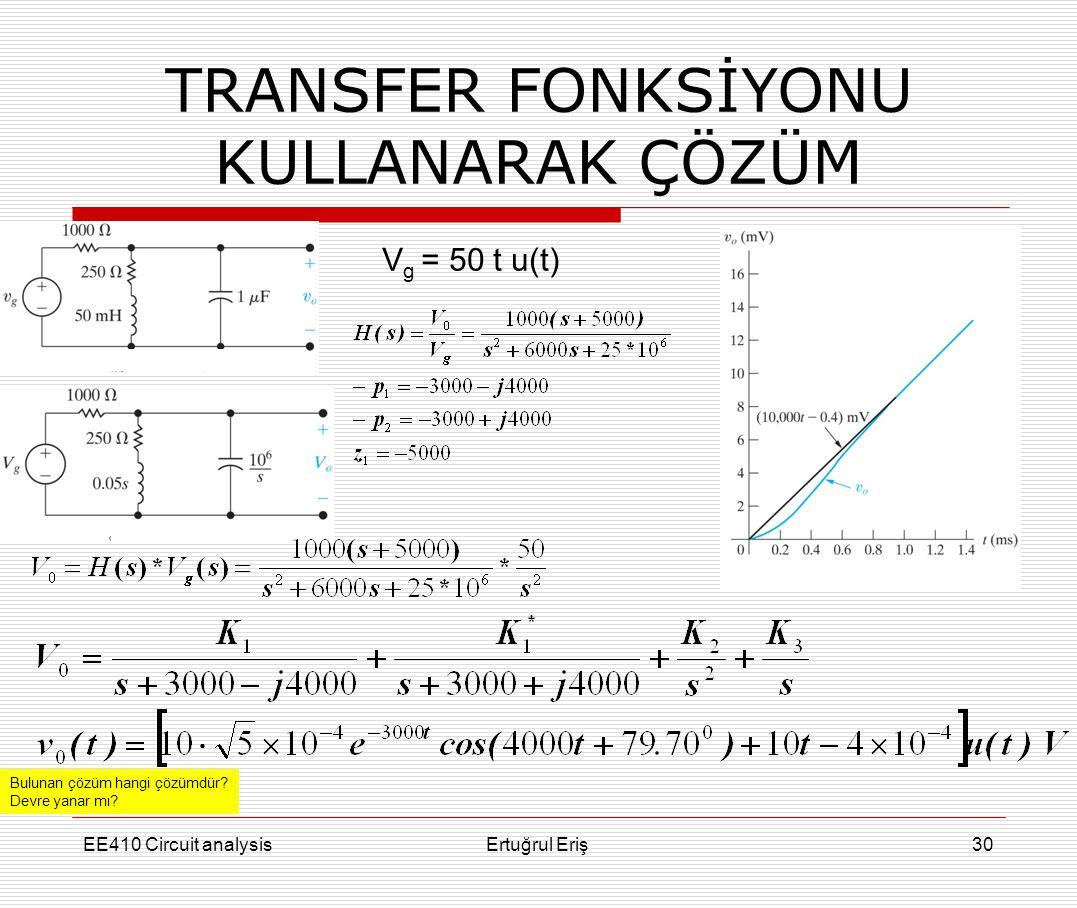 EE410 Circuit analysisErtuğrul Eriş30 V g = 50 t u(t) TRANSFER FONKSİYONU KULLANARAK ÇÖZÜM Bulunan çözüm hangi çözümdür? Devre yanar mı?