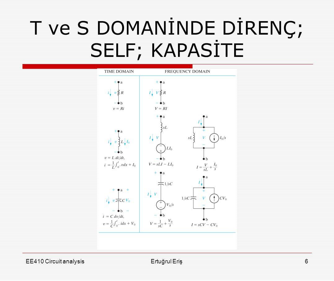 EE410 Circuit analysisErtuğrul Eriş17 ÖRNEK V 1 = [5(s + 3)] / [s(s + 0.5) (s+2)] V 2 = [2.5(s 2 + 6)] / [s (s + 0.5) (s + 2)] v 1 = [15 - (50/3) e -0.5t + (5/3) e -2t )] u(t) v 2 = [15 - (125/6) e -0.5t + (25/3) e -2t )] u(t) 12