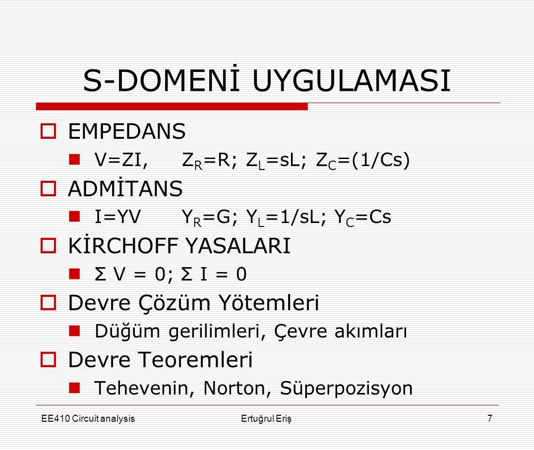 S-DOMENİ UYGULAMASI  EMPEDANS  V=ZI, Z R =R; Z L =sL; Z C =(1/Cs)  ADMİTANS  I=YVY R =G; Y L =1/sL; Y C =Cs  KİRCHOFF YASALARI  Σ V = 0; Σ I = 0