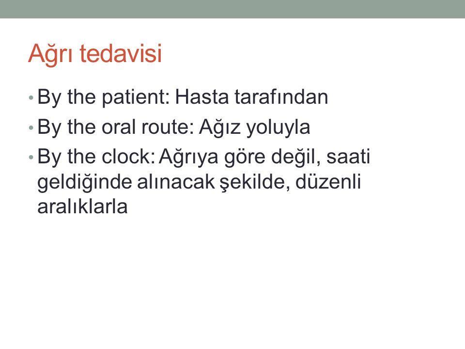 Ağrı tedavisi • By the patient: Hasta tarafından • By the oral route: Ağız yoluyla • By the clock: Ağrıya göre değil, saati geldiğinde alınacak şekild