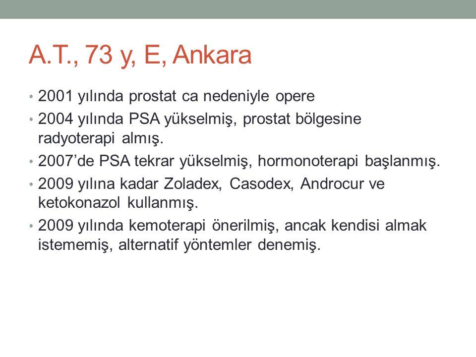 A.T., 73 y, E, Ankara • 2001 yılında prostat ca nedeniyle opere • 2004 yılında PSA yükselmiş, prostat bölgesine radyoterapi almış. • 2007'de PSA tekra