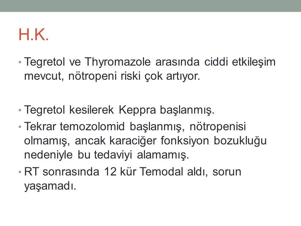 H.K. • Tegretol ve Thyromazole arasında ciddi etkileşim mevcut, nötropeni riski çok artıyor. • Tegretol kesilerek Keppra başlanmış. • Tekrar temozolom