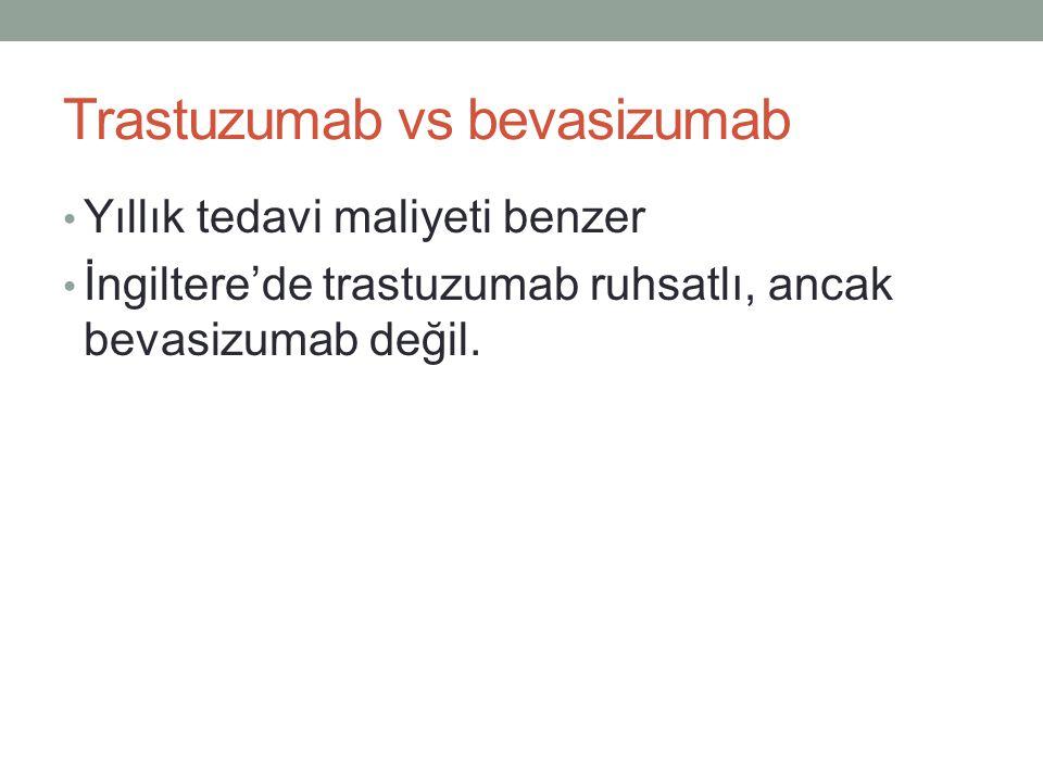 Trastuzumab vs bevasizumab • Yıllık tedavi maliyeti benzer • İngiltere'de trastuzumab ruhsatlı, ancak bevasizumab değil.