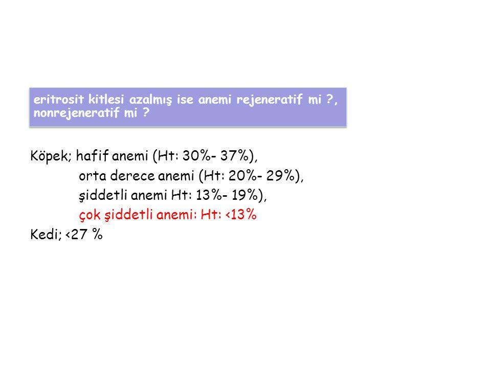 Köpek; hafif anemi (Ht: 30%- 37%), orta derece anemi (Ht: 20%- 29%), şiddetli anemi Ht: 13%- 19%), çok şiddetli anemi: Ht: <13% Kedi; <27 % eritrosit kitlesi azalmış ise anemi rejeneratif mi ?, nonrejeneratif mi .