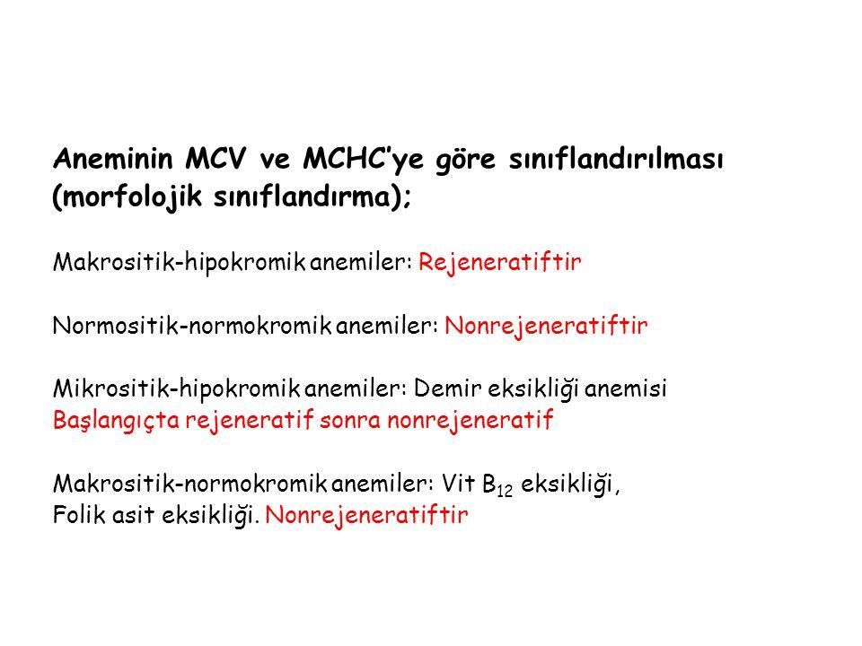 Aneminin MCV ve MCHC'ye göre sınıflandırılması (morfolojik sınıflandırma); Makrositik-hipokromik anemiler: Rejeneratiftir Normositik-normokromik anemi