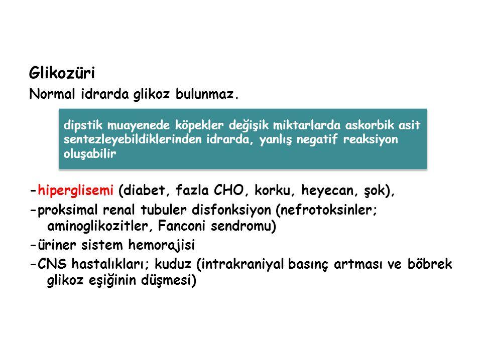 Glikozüri Normal idrarda glikoz bulunmaz. -hiperglisemi (diabet, fazla CHO, korku, heyecan, şok), -proksimal renal tubuler disfonksiyon (nefrotoksinle