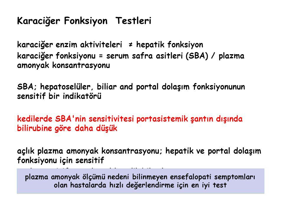 Karaciğer Fonksiyon Testleri karaciğer enzim aktiviteleri ≠ hepatik fonksiyon karaciğer fonksiyonu = serum safra asitleri (SBA) / plazma amonyak konsa