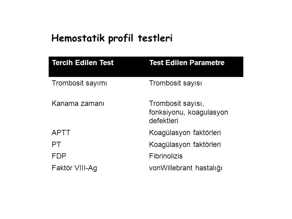 Hemostatik profil testleri Tercih Edilen TestTest Edilen Parametre Trombosit sayımıTrombosit sayısı Kanama zamanıTrombosit sayısı, fonksiyonu, koagulasyon defektleri APTTKoagülasyon faktörleri PTKoagülasyon faktörleri FDPFibrinolizis Faktör VIII-AgvonWillebrant hastalığı