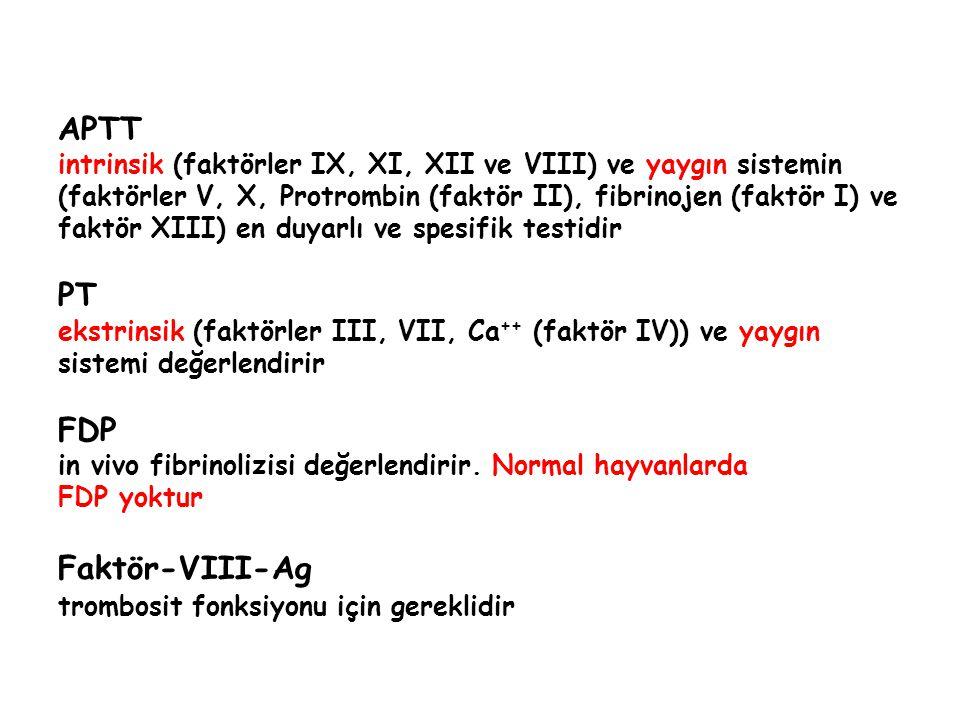 APTT intrinsik (faktörler IX, XI, XII ve VIII) ve yaygın sistemin (faktörler V, X, Protrombin (faktör II), fibrinojen (faktör I) ve faktör XIII) en duyarlı ve spesifik testidir PT ekstrinsik (faktörler III, VII, Ca ++ (faktör IV)) ve yaygın sistemi değerlendirir FDP in vivo fibrinolizisi değerlendirir.