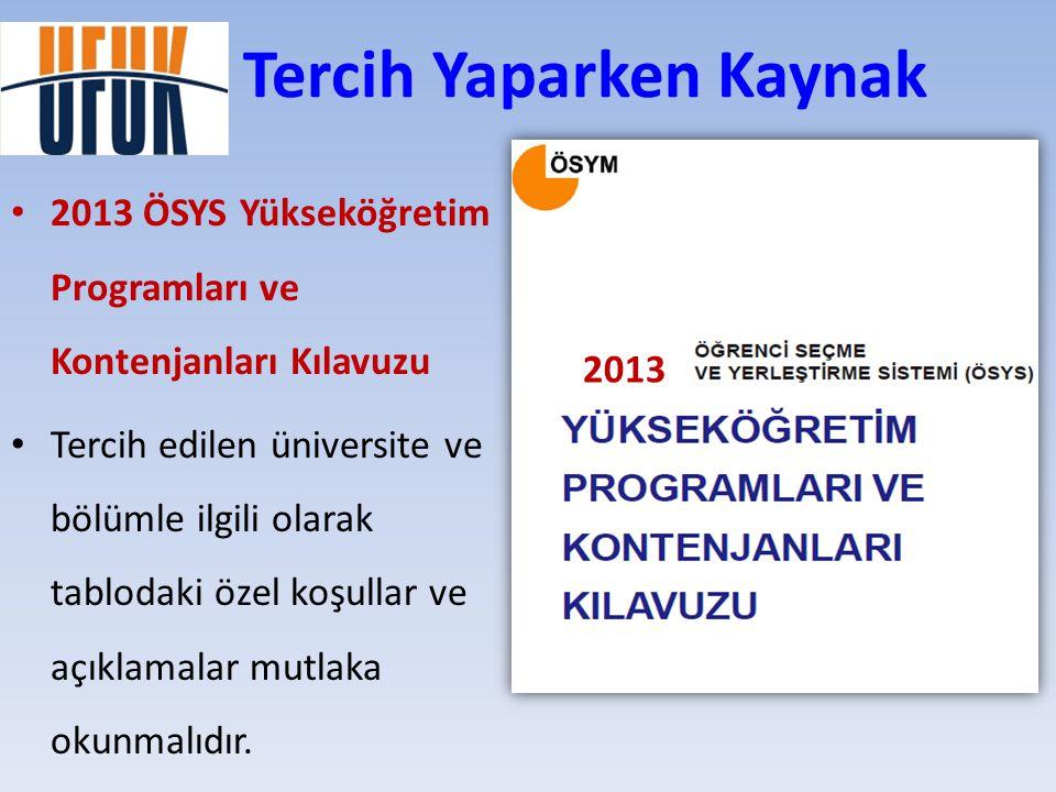 Tercih Yaparken Kaynak • 2013 ÖSYS Yükseköğretim Programları ve Kontenjanları Kılavuzu • Tercih edilen üniversite ve bölümle ilgili olarak tablodaki ö
