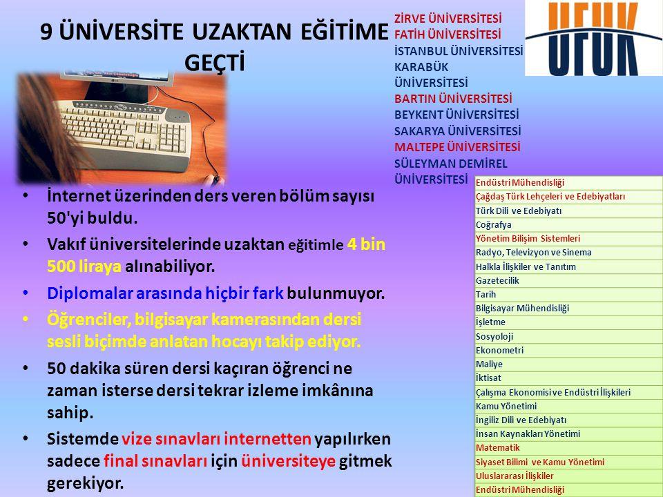 • İnternet üzerinden ders veren bölüm sayısı 50'yi buldu. • Vakıf üniversitelerinde uzaktan eğitimle 4 bin 500 liraya alınabiliyor. • Diplomalar arası