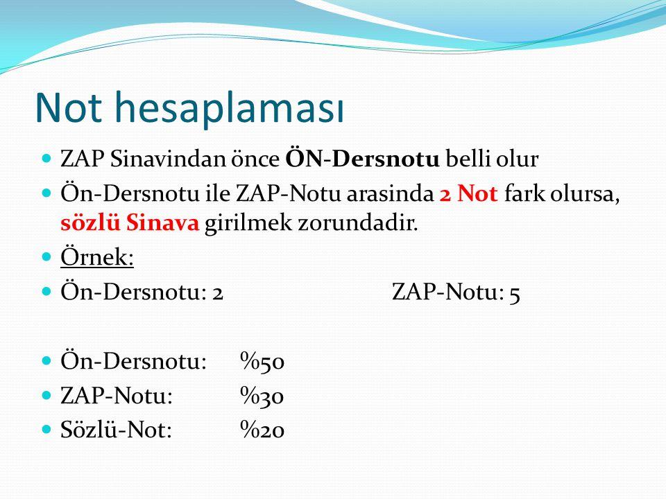 Not hesaplaması  ZAP Sinavindan önce ÖN-Dersnotu belli olur  Ön-Dersnotu ile ZAP-Notu arasinda 2 Not fark olursa, sözlü Sinava girilmek zorundadir.