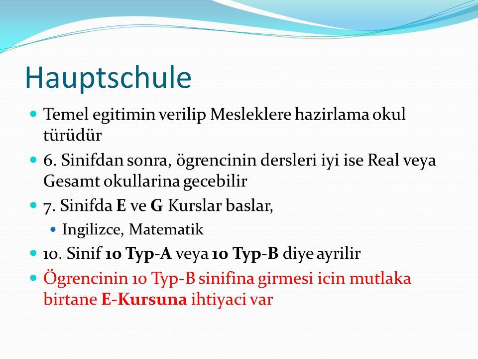 Hauptschule  Temel egitimin verilip Mesleklere hazirlama okul türüdür  6. Sinifdan sonra, ögrencinin dersleri iyi ise Real veya Gesamt okullarina ge