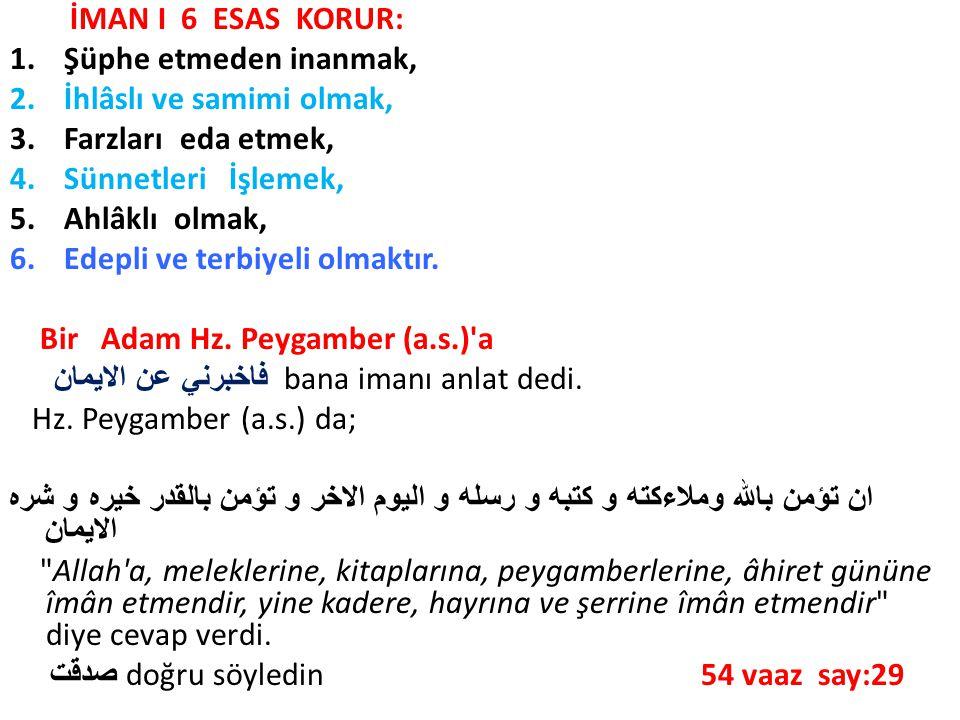 İMAN I 6 ESAS KORUR: 1.Şüphe etmeden inanmak, 2.İhlâslı ve samimi olmak, 3.Farzları eda etmek, 4.Sünnetleri İşlemek, 5.Ahlâklı olmak, 6.Edepli ve terb