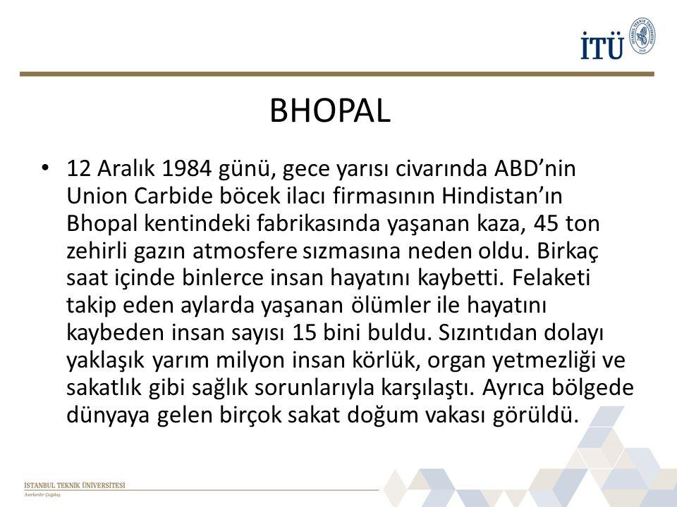 • 12 Aralık 1984 günü, gece yarısı civarında ABD'nin Union Carbide böcek ilacı firmasının Hindistan'ın Bhopal kentindeki fabrikasında yaşanan kaza, 45