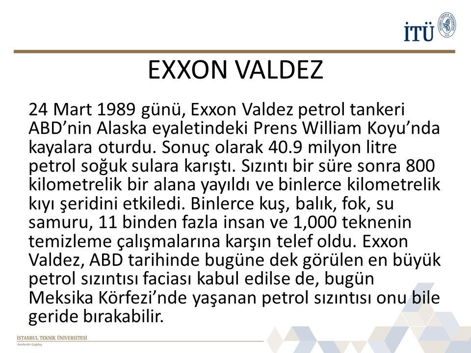 EXXON VALDEZ 24 Mart 1989 günü, Exxon Valdez petrol tankeri ABD'nin Alaska eyaletindeki Prens William Koyu'nda kayalara oturdu. Sonuç olarak 40.9 mily