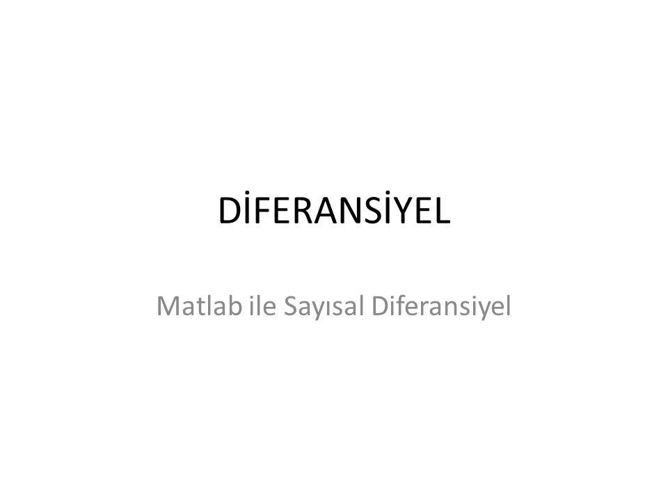 DİFERANSİYEL Matlab ile Sayısal Diferansiyel