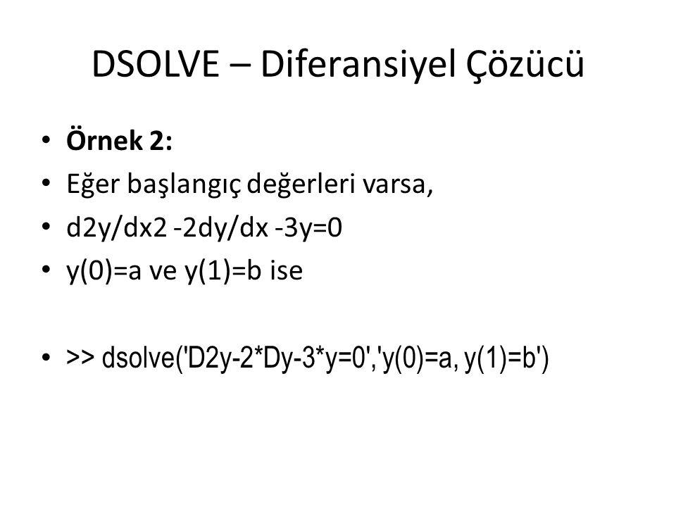 DSOLVE – Diferansiyel Çözücü • Örnek 2: • Eğer başlangıç değerleri varsa, • d2y/dx2 -2dy/dx -3y=0 • y(0)=a ve y(1)=b ise • >> dsolve('D2y-2*Dy-3*y=0',