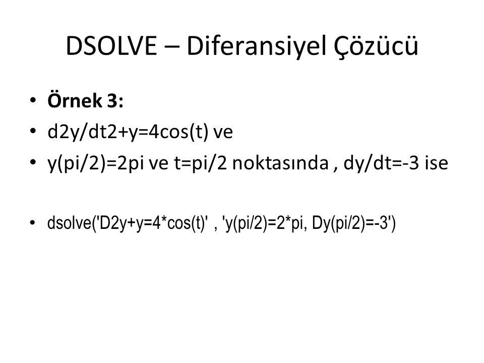 DSOLVE – Diferansiyel Çözücü • Örnek 3: • d2y/dt2+y=4cos(t) ve • y(pi/2)=2pi ve t=pi/2 noktasında, dy/dt=-3 ise • dsolve('D2y+y=4*cos(t)', 'y(pi/2)=2*
