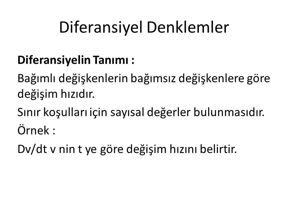 Diferansiyel Denklemler Diferansiyelin Tanımı : Bağımlı değişkenlerin bağımsız değişkenlere göre değişim hızıdır. Sınır koşulları için sayısal değerle