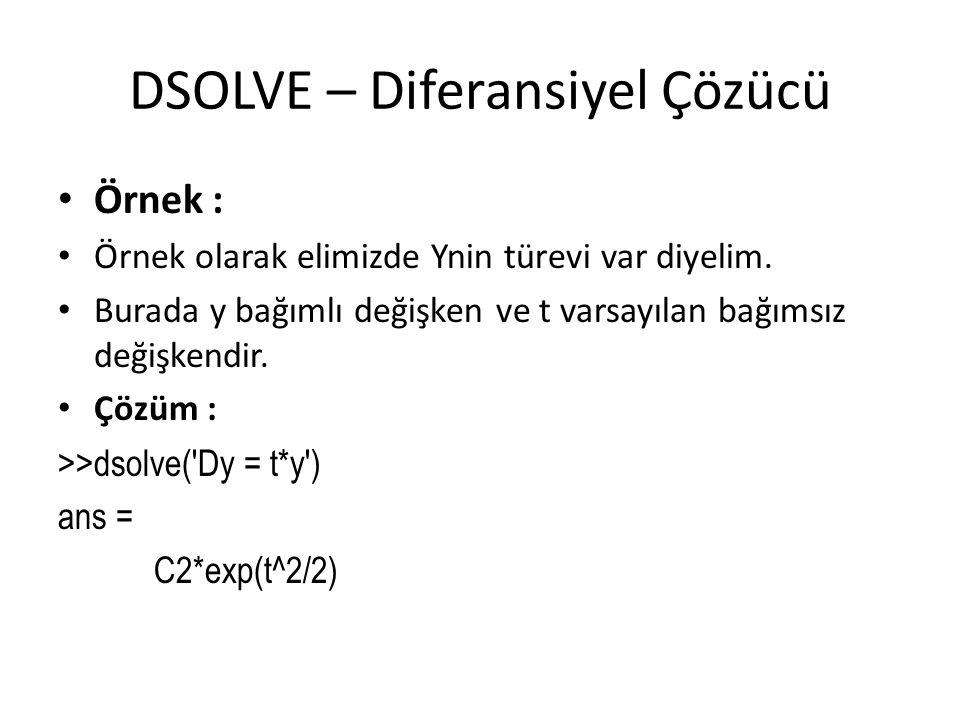 DSOLVE – Diferansiyel Çözücü • Örnek : • Örnek olarak elimizde Ynin türevi var diyelim. • Burada y bağımlı değişken ve t varsayılan bağımsız değişkend