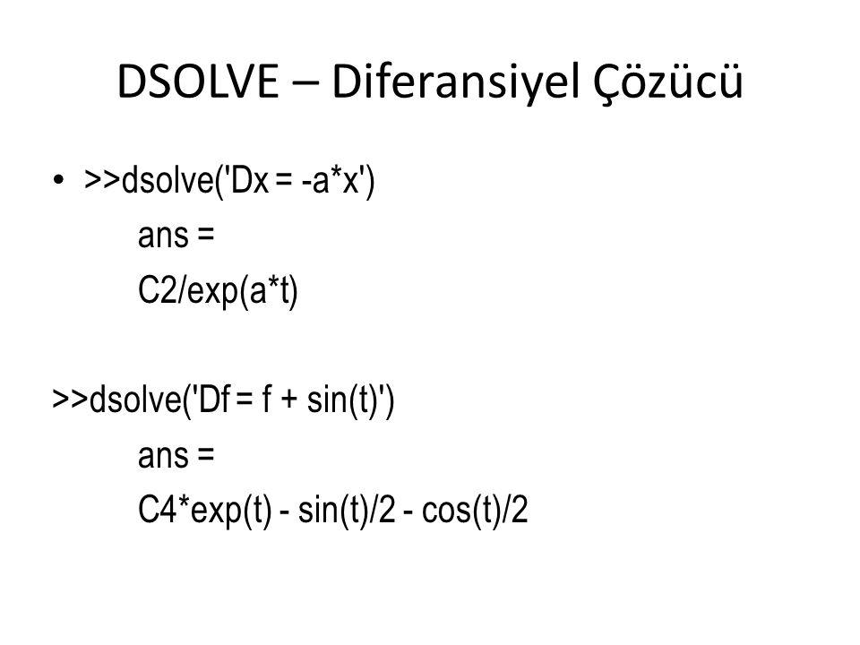 DSOLVE – Diferansiyel Çözücü • >>dsolve('Dx = -a*x') ans = C2/exp(a*t) >>dsolve('Df = f + sin(t)') ans = C4*exp(t) - sin(t)/2 - cos(t)/2