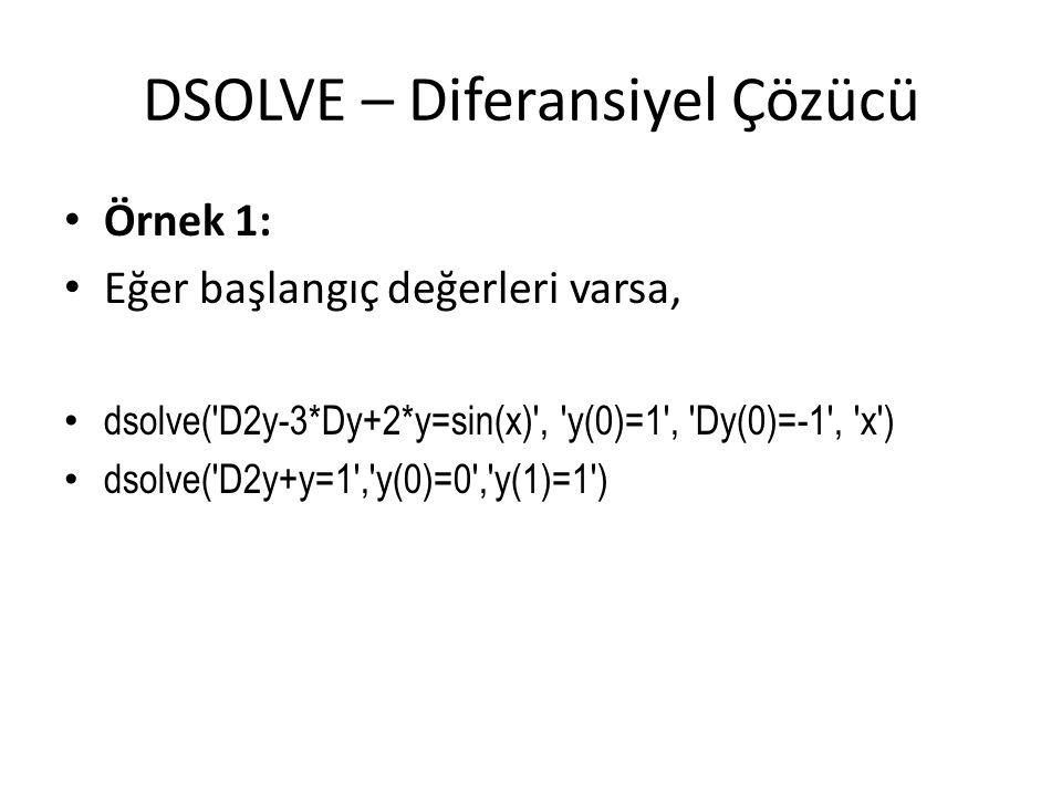DSOLVE – Diferansiyel Çözücü • Örnek 1: • Eğer başlangıç değerleri varsa, • dsolve('D2y-3*Dy+2*y=sin(x)', 'y(0)=1', 'Dy(0)=-1', 'x') • dsolve('D2y+y=1