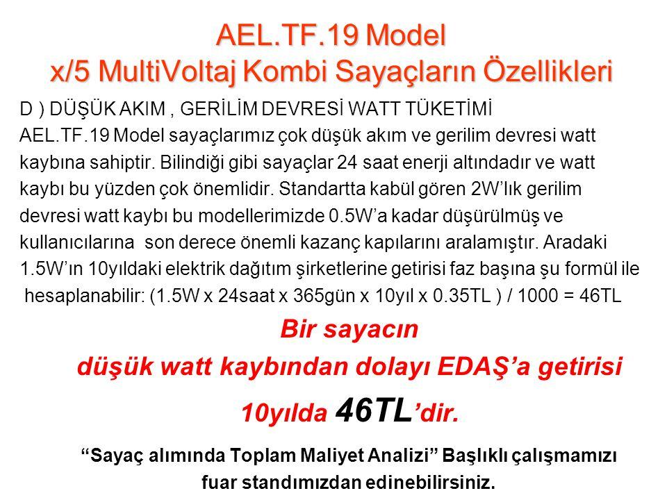 D ) DÜŞÜK AKIM, GERİLİM DEVRESİ WATT TÜKETİMİ AEL.TF.19 Model sayaçlarımız çok düşük akım ve gerilim devresi watt kaybına sahiptir.