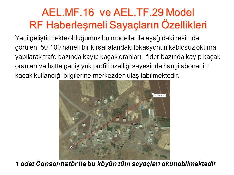 AEL.MF.16 ve AEL.TF.29 Model RF Haberleşmeli Sayaçların Özellikleri Yeni geliştirmekte olduğumuz bu modeller ile aşağıdaki resimde görülen 50-100 haneli bir kırsal alandaki lokasyonun kablosuz okuma yapılarak trafo bazında kayıp kaçak oranları, fider bazında kayıp kaçak oranları ve hatta geniş yük profili özelliği sayesinde hangi abonenin kaçak kullandığı bilgilerine merkezden ulaşılabilmektedir.
