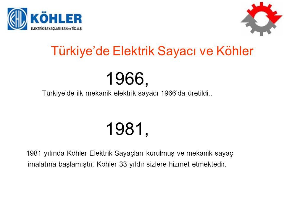 1999, Türkiye'de ilk Elektronik Sayaç şartnamesi 1999'da yürürlüğe girmiştir Türkiye'de Elektrik Sayacı ve Köhler Aralık 2001, Türkiye'de Mekanik Şayaçların kullanımı 2001 yılı aralık ayında yürürlükten kaldırıldı.