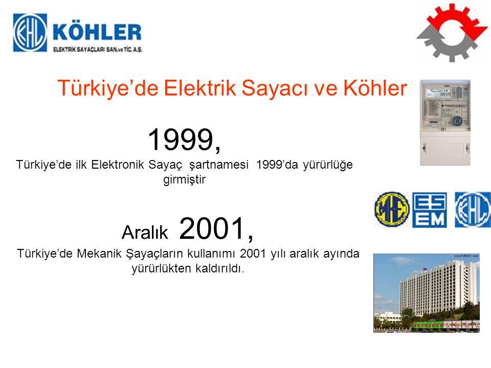 Şubat 2002, Türkiye'de ilk KÖHLER marka elektronik elektrik sayacı 2002 yılı şubat ayında üretilmiştir 2002-2003, ESEM ve MKE pazardan çekildi, 30 yeni firma sektöre dahil oldu.