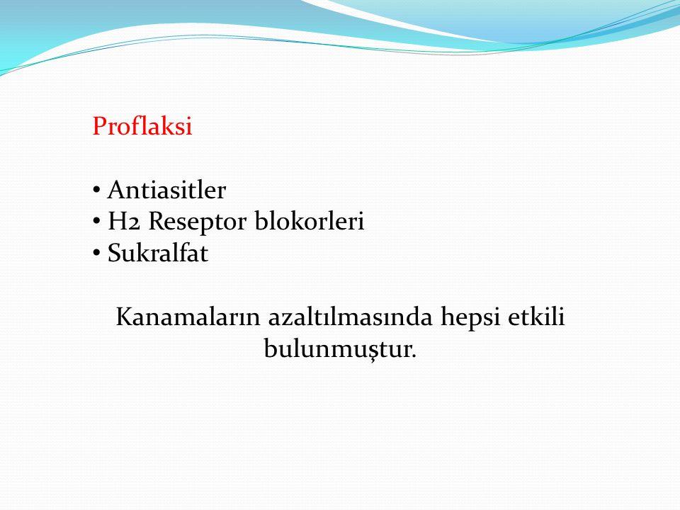 Proflaksi • Antiasitler • H2 Reseptor blokorleri • Sukralfat Kanamaların azaltılmasında hepsi etkili bulunmuştur.