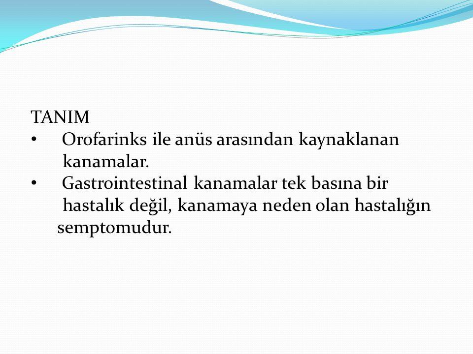 TANIM • Orofarinks ile anüs arasından kaynaklanan kanamalar. • Gastrointestinal kanamalar tek basına bir hastalık değil, kanamaya neden olan hastalığı