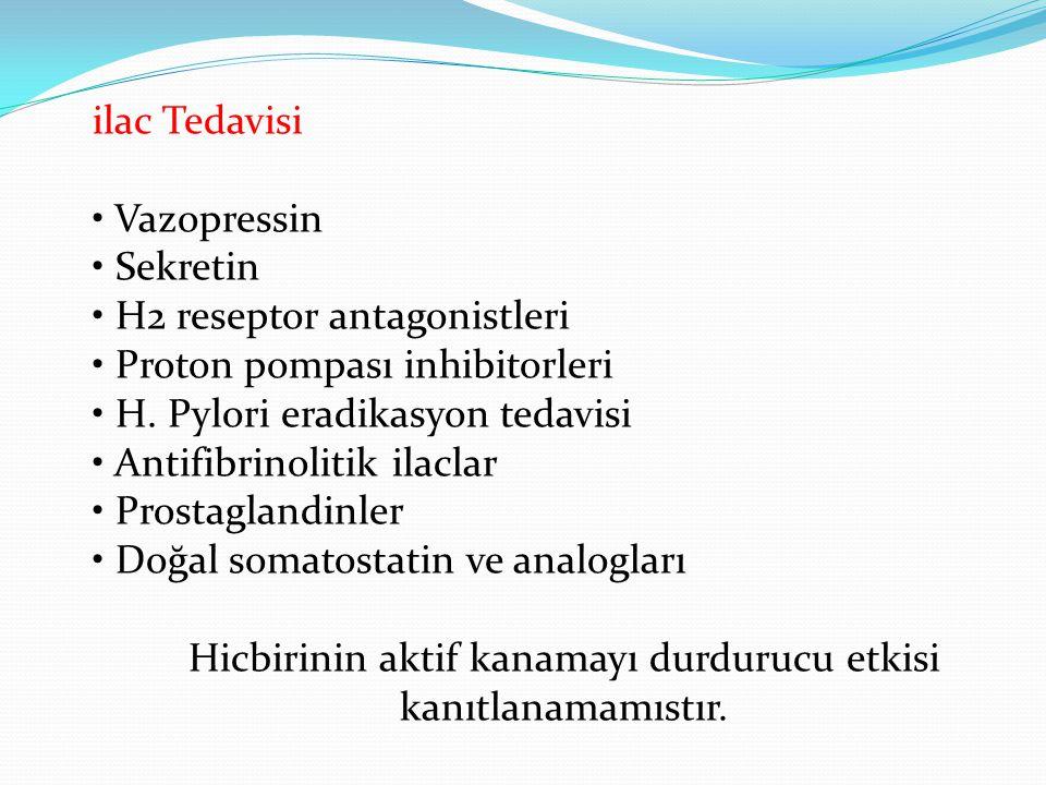 ilac Tedavisi • Vazopressin • Sekretin • H2 reseptor antagonistleri • Proton pompası inhibitorleri • H. Pylori eradikasyon tedavisi • Antifibrinolitik